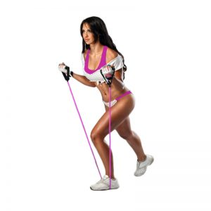 Woman with pink stretch rope