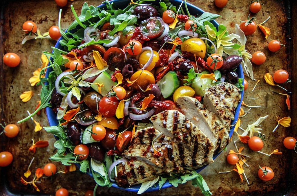 Griekse Gegrilde Kip Salade
